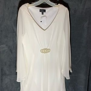 NWT White Chiffon Dress with Angel Sleeves S-16W